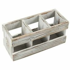 3 Compartment Distressed Torched Wooden Stationary Storage Desk Organizer