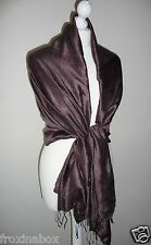 Brown Raw Thai Silk Pashmina Wrap Shawl Large Scarf Lightweight Fair Trade