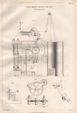 VICTORIAN ENGINEERING DRAWING. Spiral roving machine for flax, section 1847