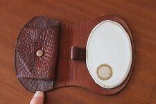 Vintage - Ancien Porte monnaie en cuir marron - Miroir biseauté Superbe