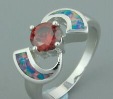 Mexican Style Garnet and Fire Opal Silver Cocktail Ring 7.5  Gift