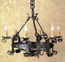 Lampadario LAMPIONE lanterna in ferro battuto forgiato 6 luci diametro 60 cm