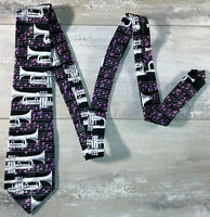 TIE KING Mens Hand Made 100% Microfibre - Purple Music Notes & Silver Trumpets