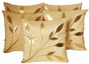 Dupion Silk Golden Leaves Cushion Covers (Beige, 16X16-inch)