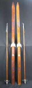 Vintage Wooden HUSKI USA Ranger Wooden Cross Country Skis 177 cm w/ Bamboo Poles