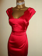 Stunning Red Satin Party Wedding Pencil Wiggle Dress Size 16 NEW