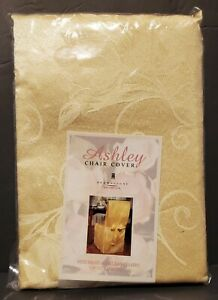 NEW Ashley Brownstone Gold Armless Chair Cover Embossed Flower Design