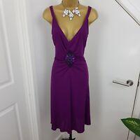 Moschino Dress Midi Strap V Neck Beaded Sleeveless Occasion Purple Size 42 UK 10