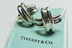Tiffany & Co Picasso Solid Silver Signature X Cross Kiss Earrings Pierced