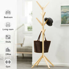 KCASA Wooden Coat Stand Rack Tree 8 Hooks Clothes Hanger Rail Jacket Bag #gift