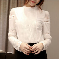 Women Ladies Lace Crochet Long Sleeve Shirt Blouse Summer Casual Tee Tops White