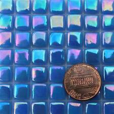 8mm Mosaic Glass Tiles - 2 Ounces About 87 Tiles - Iridescent Primary Blue #1