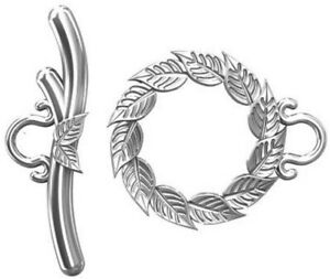 ONE STERLING SILVER 925 LEAF DESIGN TOGGLE CLASP SET, TOP QUALITY, 23 X 14 MM