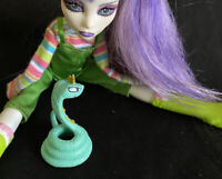 Monster High Doll Clothes Lime green overhauls striped turtleneck Boots Snake