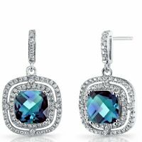 Sterling Silver 925 Faceted Blue Topaz Pave CZ Halo Drop Dangling Hook Earrings