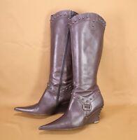 3S Bella Donna Wedgeheel Stiefel Slouch Boots Leder braun Gr. 38 Nieten spitz