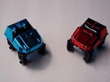 2 Micro Knex Mini Roller Coaster Cars Light Metallic Blue & Red Parts/Pieces Lot