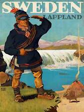 TRAVEL TOURISM LAPPLAND SWEDEN GLACIER LAVVU SAMI FINE ART PRINT POSTER BB9907
