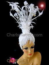 Burlesque styled Small beaded white showgirl's cabaret marabou feather headdress
