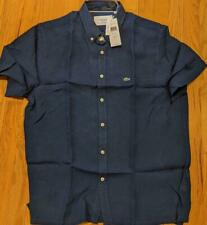 $135 Authentic Mens Lacoste Linen SS Button Up Shirt Navy 38 (Small)