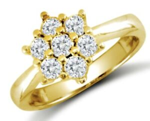 9ct Yellow Gold Cubic Zirconia Round Cut Cluster Ladies Ring  - UK Jewellers