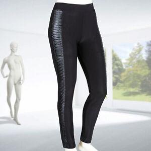 Damen Treggings Kunstledereinsatz Stretch Röhrenhose Leggings breiter Bund