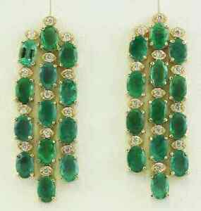 12.50 Carat Natural Emerald Diamond Solid Yellow Gold 14K Chandelier Earrings