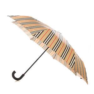 RRP€250 BURBERRY Trafalgar Vintage Check Striped Folding Umbrella Leather Handle