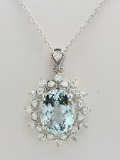 4.67 Carat Natural Blue Aquamarine and Diamond in 14K Solid White Gold Pendant