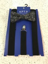 Adjustable Bow Tie &  Black Stretch Suspenders Set  1 Size Fits All $50
