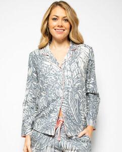 Cyberjammies PJ Top Women Hallie Leaf Print Pyjama Top Long Sleeve Grey