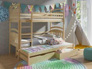 Kinderbett 80x190 Etagenbett Hochbett Doppelstockbett Stockbett Naturholz Kiefer