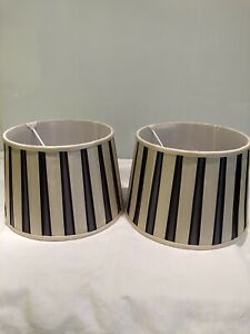 Pair Of Vintage Laura Ashley Pleated Silk Lampshades 31cm Wide