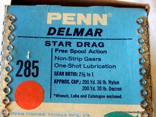 Vintage Penn Delmar 285 Multiplier Reel Made in USA Mint Boxed etc Unused