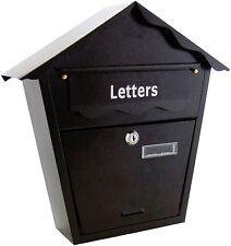 GRANDE IN ACCIAIO NERO Post lettera casella di posta con serratura con chiavi parete per esterni