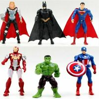 6PCS Marvel Avengers Super Hero Figures Toys Cake Toppers Hulk Batman Super Man