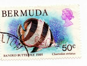 Bermuda SG399; 50c Banded Butterfly Fish; fine used unhinged