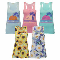 Ladies Vest Brave Soul Womens Floral Racer Back Top Muscle Beach Summer Party
