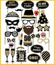 29PCS 50th Fiftieth Year Birthday Party Supplies Masks Favor Photo Booth Props