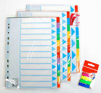 Ordner Register A4 blanko farbig Karton 5 ,6,10,12 teilig, A-Z mehrfarbig Pappe