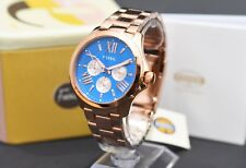 FOSSIL Cecile Multi-Function Blue Dial Rose Gold Ladies Watch AM4556 RRP £145
