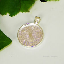 20mm Round Silver Plated Cabochon (Cab) Pendant Setting (#D1-20)
