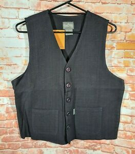 BNWT Mens Size Large Firetrap Brand 100% Cotton Black Waistcoat