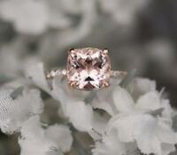1.60Ct Cushion Cut Peach Morganite Halo Engagement Ring Band 14K Rose Gold Over