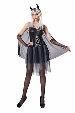 Donna Black Devil Costume Halloween Demone Adulto Vestito UK 10-14