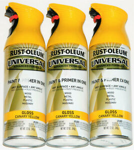 3 Rust-Oleum Universal Advanced Formula Paint Primer In One Gloss Canary Yellow