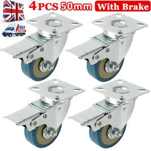 Heavy Duty 4Pcs 50mm Rubber Swivel Castor Wheels Furniture Trolley Brake UK
