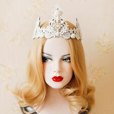 Pearl Shell Queen Crown Lace Tiara Gothic HeadBand Head Wreath Wedding Bridal