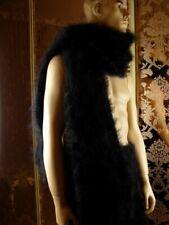Mohair Hand Knitted Unisex Fluffy Black Long Lush Scarf Handmade