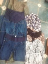 6 Piece  Maternity Bundle Uk 8 /10 Jeans Check Top & 2 Dresses Vgc